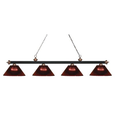 Zephyr 4-Light Adjustable Billiard Light Finish: Matte Black / Antique Copper, Shade Color: Burgundy