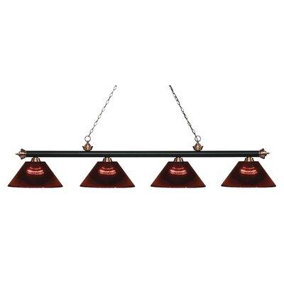Zephyr 4-Light Adjustable Billiard Light Shade Color: Burgundy, Finish: Matte Black / Antique Copper