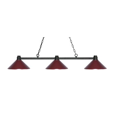 Park 3-Light Billiard Light Shade Color: Dark Wine, Finish: Bronze