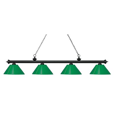 Zephyr 4-Light Cone Shade Billiard Light Finish: Matte Black, Shade Color: Green