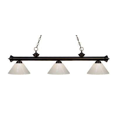 Zephyr Modern 3-Light Steel Billiard Light Finish: Bronze, Shade Color: White