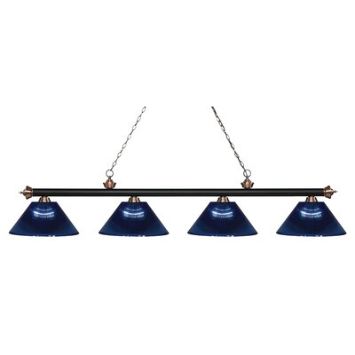 Zephyr 4-Light Adjustable Billiard Light Shade Color: Dark Blue, Finish: Matte Black / Antique Copper