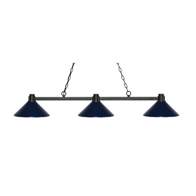 Park 3-Light Billiard Light Shade Color: Navy Blue, Finish: Bronze
