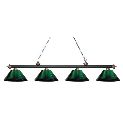 Zephyr 4-Light Adjustable Billiard Light Finish: Matte Black / Antique Copper, Shade Color: Green