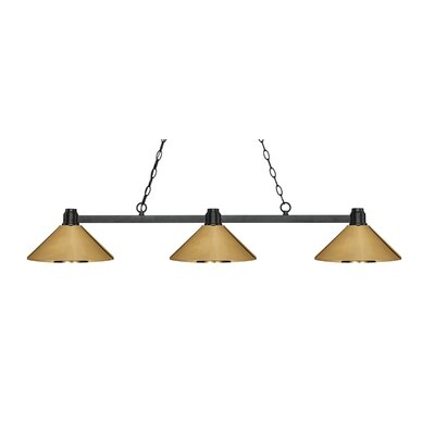 Park 3-Light Billiard Light Finish: Bronze, Shade Color: Polished Brass