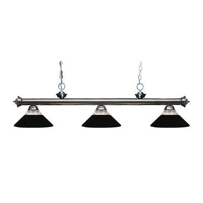 Zephyr 3-Light Incandescent Billiard Light Finish: Gun Metal, Shade Color: Matte