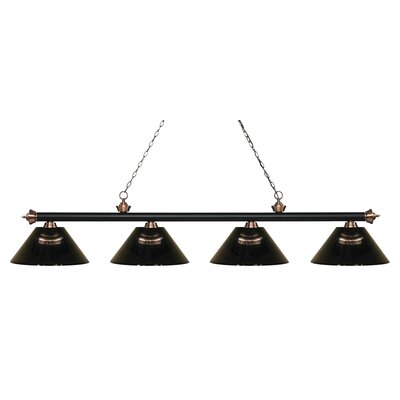 Zephyr 4-Light Adjustable Billiard Light Finish: Matte Black / Antique Copper, Shade Color: Smoke