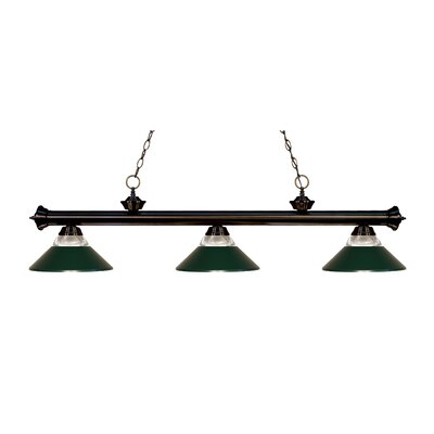 Zephyr 3-Light Incandescent Billiard Light Shade Color: Dark Green, Finish: Bronze