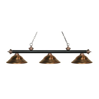 Zephyr 3-Light Cone Shade Billiard Light Finish: Matte Black / Antique Copper, Shade Color: Antique Copper