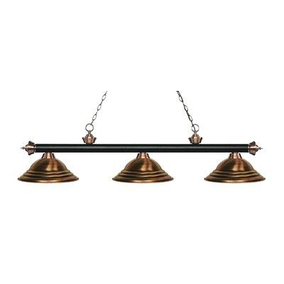 Zephyr 3-Light Cone Shade Billiard Light Finish: Matte Black / Antique Copper, Shade Color: Antique Copper