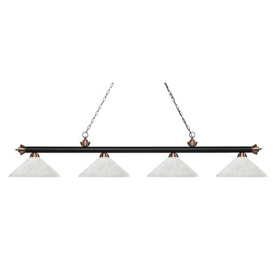 Zephyr 4-Light Cone Glass Shade Billiard Light with Hanging Chain Finish: Matte Black / Antique Copper, Shade Color: White Linen