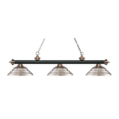 Zephyr 3-Light Cone Shade Billiard Light Finish: Matte Black / Antique Copper, Shade Color: Brushed Nickel