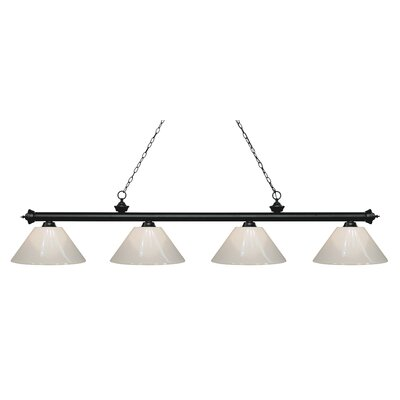 Zephyr 4-Light Cone Shade Billiard Light Finish: Matte Black, Shade Color: White