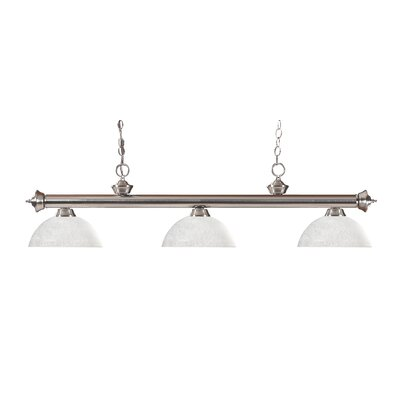 Zephyr 3-Light Bowl Glass Shade Billiard Light Shade Color: White Linen, Finish: Brushed Nickel