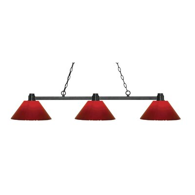 Centeno 3-Light Kitchen Island Pendant Finish: Bronze, Shade Color: Red