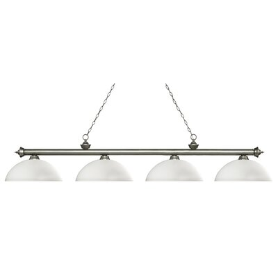 Zephyr 4-Light Bowl Shade Billiard Light Finish: Antique Silver, Shade Color: Matte Opal