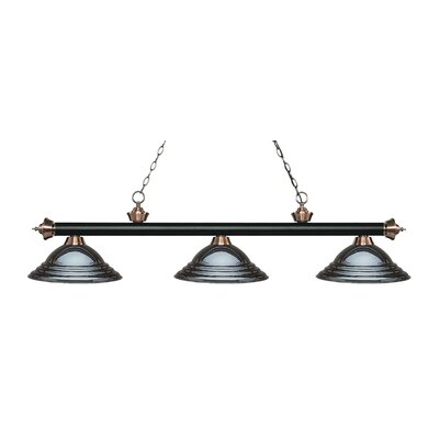 Zephyr 3-Light Cone Shade Billiard Light Finish: Matte Black / Antique Copper, Shade Color: Gun Metal