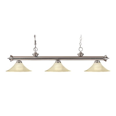 Zephyr 3-Light Bell Glass Billiard Light Finish: Brushed Nickel, Shade Color: Golden Mottle