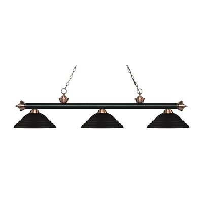Zephyr 3-Light Cone Shade Billiard Light Finish: Matte Black / Antique Copper, Shade Color: Matte Black