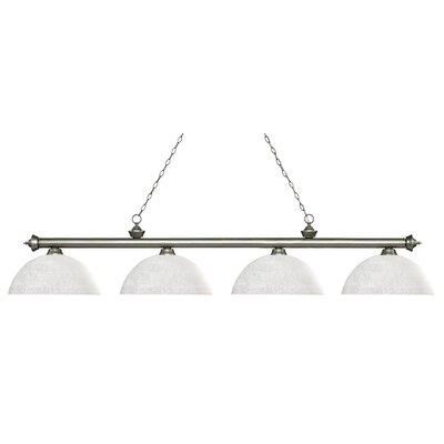 Zephyr 4-Light Bowl Shade Billiard Light Finish: Antique Silver, Shade Color: White Linen