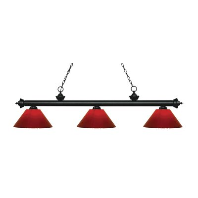 Zephyr 3-Light Adjustable Billiard Light Finish: Matte Black, Shade Color: Red, Size: 14.25 H x 57 W x 14 D