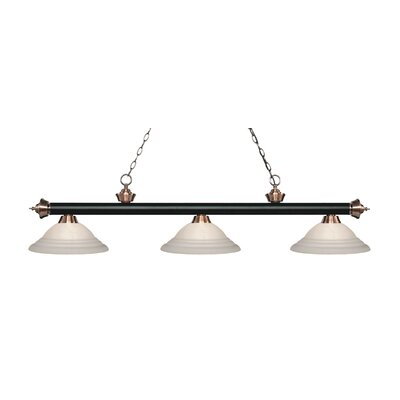 Riviera 3-Light Billiard Light Finish: Matte Black / Antique Copper