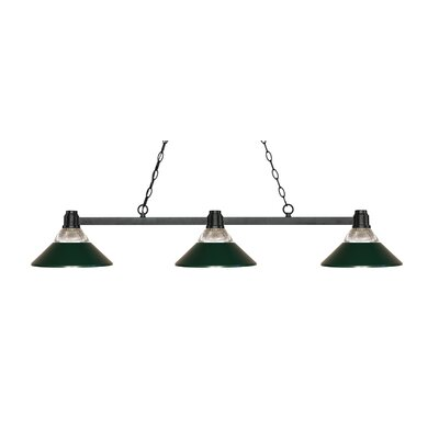Park 3-Light Billiard Light Finish: Bronze, Shade Color: Clear / Dark Green