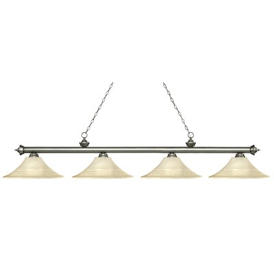 Zephyr 4-Light Bell Shade Billiard Light Finish: Antique Silver, Shade Color: Golden
