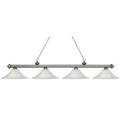 Zephyr 4-Light Bell Shade Billiard Light Finish: Antique Silver, Shade Color: White