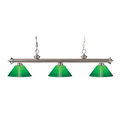 Zephyr Traditional 3-Light Cone Glass Shade Billiard Light Finish: Brushed Nickel, Shade Color: Green Cased, Size: 15 H x 57 W x 14 D