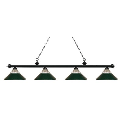 Chapple 4-Light Billiard Light Finish: Matte Black, Shade Color: Dark Green