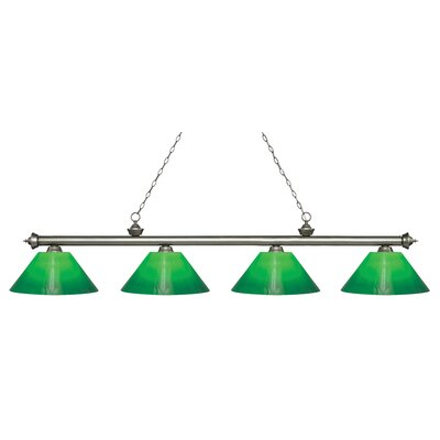 Zephyr Contemporary 4-Light Steel Billiard Light Finish: Antique Silver, Shade Color: Green Cased, Size: 13.75 H x 80.5 W x 14 D