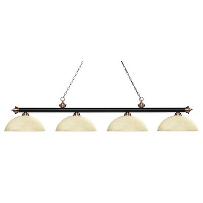 Zephyr 4-Light Bowl Shade Billiard Light Shade Color: Golden Mottle, Finish: Matte Black / Antique Copper