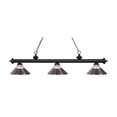 Billington 3-Light Billiard Light Finish: Matte Black, Shade Color: Brushed Nickel