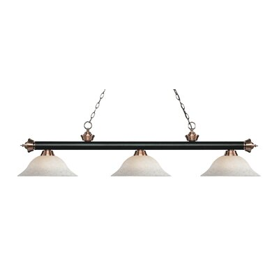 Riviera 3-Light Billiard Light Finish: Matte Black / Antique Copper, Shade Color: White Mottle, Size: 13.25