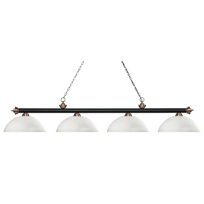Zephyr 4-Light Bowl Shade Billiard Light Finish: Matte Black / Antique Copper, Shade Color: Matte Opal