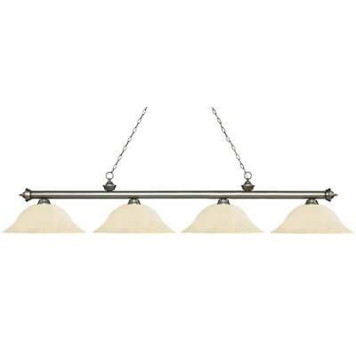 Zephyr Contemporary 4-Light Steel Billiard Light Finish: Antique Silver, Shade Color: Golden Mottle, Size: 12.5 H x 82.5 W x 16 D