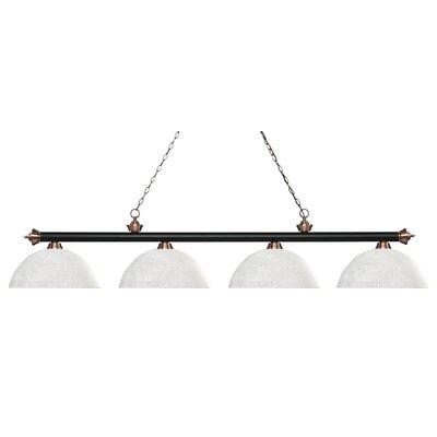 Zephyr 4-Light Bowl Shade Billiard Light Finish: Matte Black / Antique Copper, Shade Color: White Linen