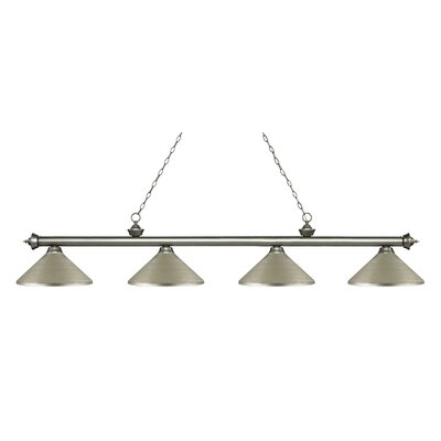 Zephyr 4-Light Cone Metal Shade Billiard Light Finish: Antique Silver, Shade Color: Antique Silver