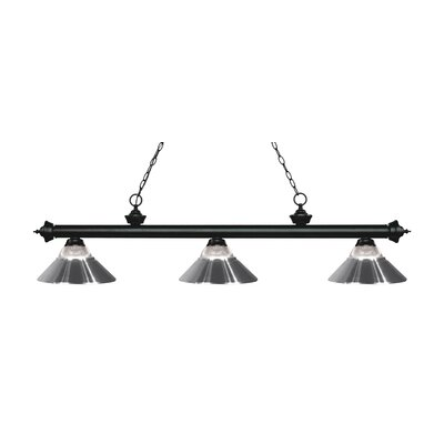 Riviera 3-Light Billiard Light Shade Color: Chrome, Finish: Matte Black