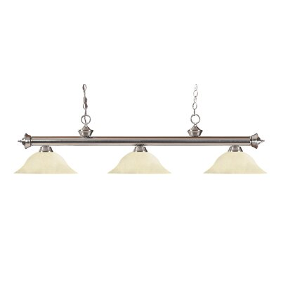 Zephyr Traditional 3-Light Cone Glass Shade Billiard Light Finish: Brushed Nickel, Shade Color: Golden Mottle, Size: 15 H x 59 W x 16 D