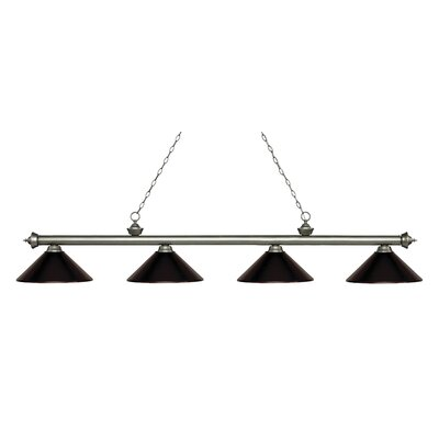 Zephyr 4-Light Cone Metal Shade Billiard Light Finish: Antique Silver, Shade Color: Bronze