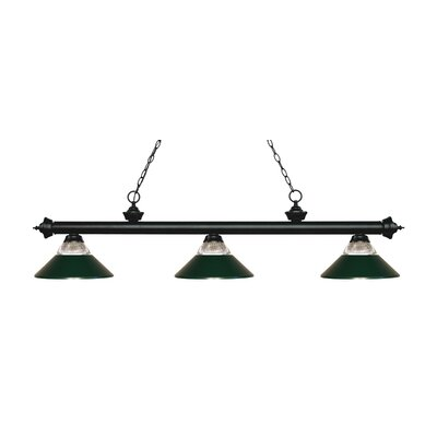 Billington 3-Light Billiard Light Finish: Matte Black, Shade Color: Dark Green