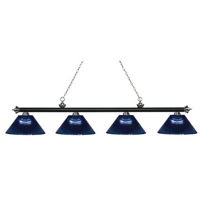 Zephyr 4-Light Adjustable Billiard Light Finish: Matte Black / Brushed Nickel, Shade Color: Dark Blue