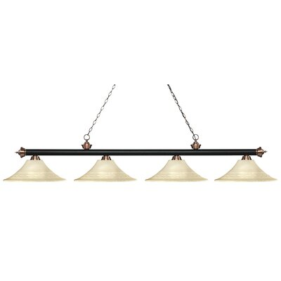 Zephyr 4-Light Bell Shade Billiard Light Finish: Matte Black / Antique Copper, Shade Color: Golden