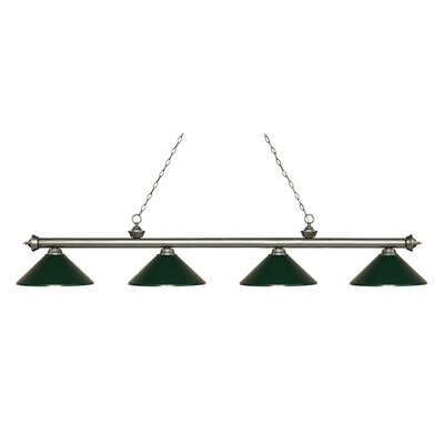 Zephyr 4-Light Cone Metal Shade Billiard Light Finish: Antique Silver, Shade Color: Dark Green