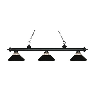 Billington 3-Light Billiard Light Finish: Matte Black, Shade Color: Matte Black