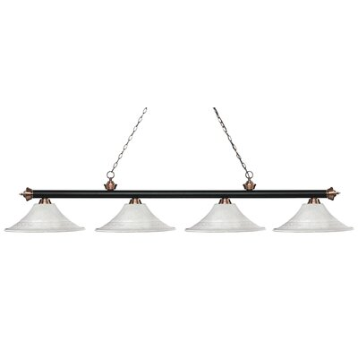 Zephyr 4-Light Bell Shade Billiard Light Finish: Matte Black / Antique Copper, Shade Color: White