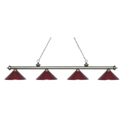Riviera 4-Light Billiard Light Finish: Antique Silver, Shade Color: Dark Wine