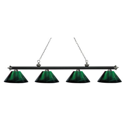 Zephyr 4-Light Adjustable Billiard Light Finish: Matte Black / Brushed Nickel, Shade Color: Green